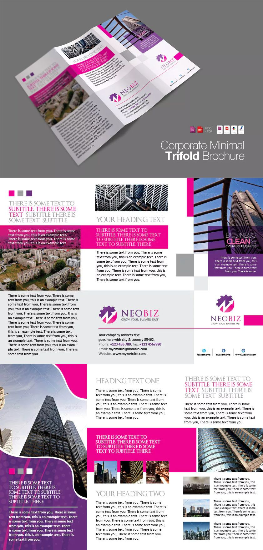 Trifold Clean Brochure Template InDesign INDD | Graphics | Pinterest