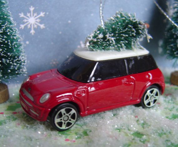 Mini Cooper car with Christmas tree by thesaltboxcollection Car Ornaments,  Christmas Tree Ornaments, Christmas - Mini Cooper Car With Christmas Tree Ornament Diana's Stuff