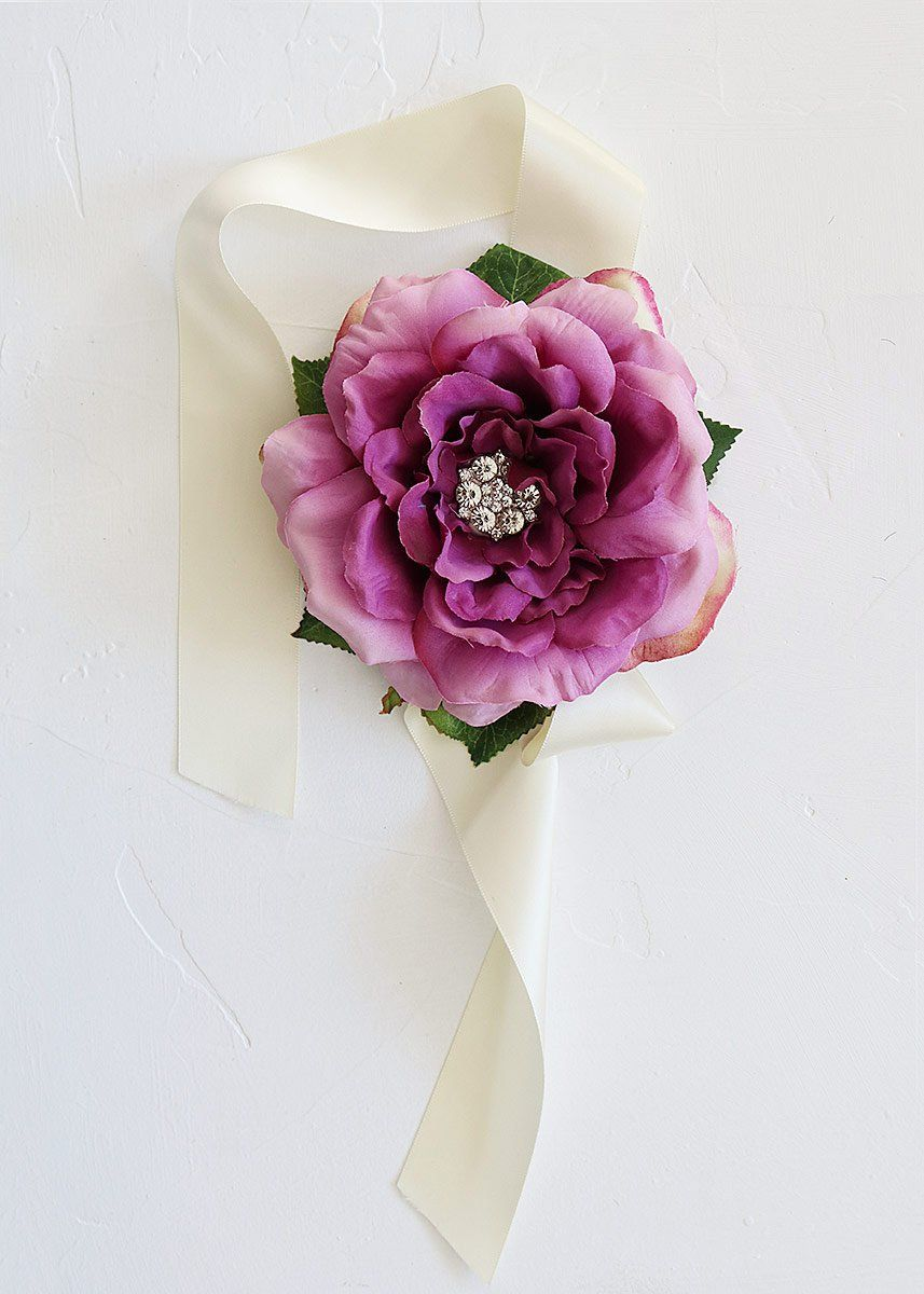 Jeweled Cabbage Rose Wrist Corsage In Violet Purple 55 Corsage