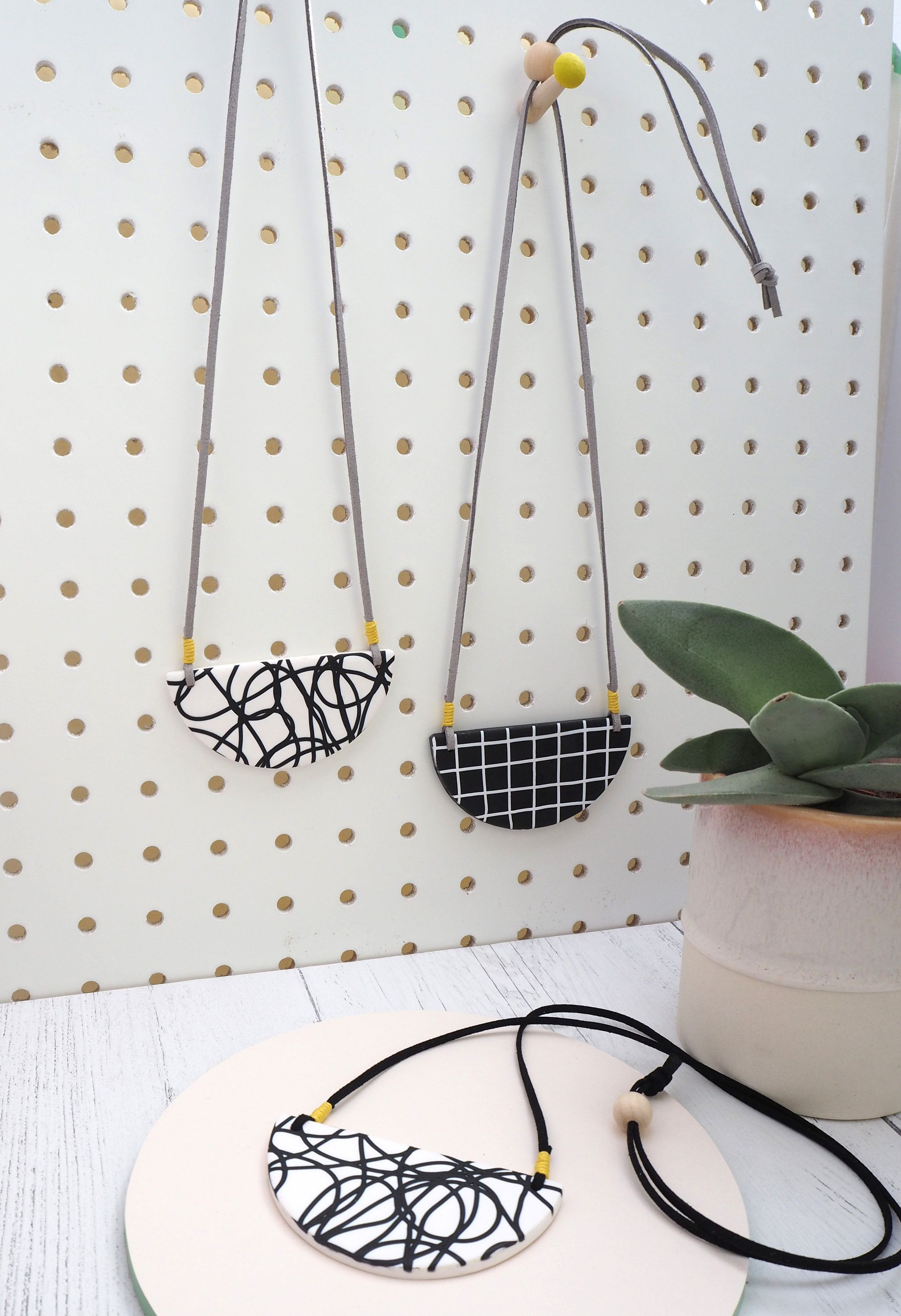 MADE TO ORDER White grid bib necklace made to order large semi circle monochrome statement necklace white and black grid design,