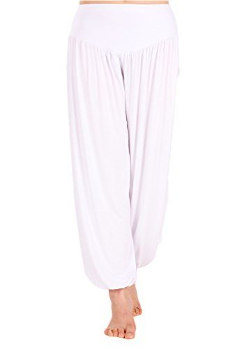 97677a7bda AvaCostume Womens Modal Cotton Soft Yoga Sports Dance Harem Pants, S, White  AvaCostume http
