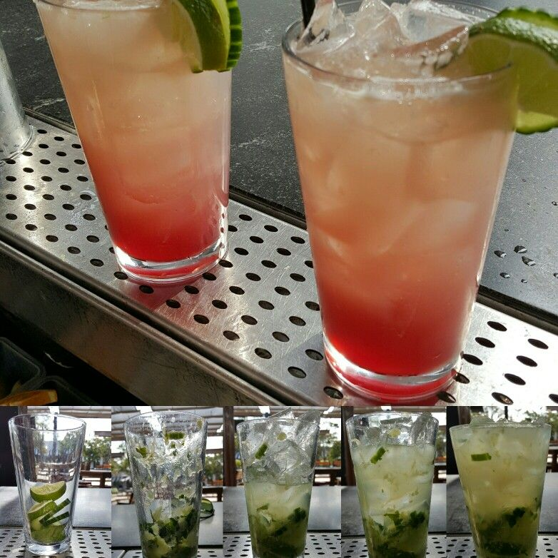 CBS Sour: Fresh cucumber, basil and sage, Hendricks gin, fresh lime juice, Chambord.