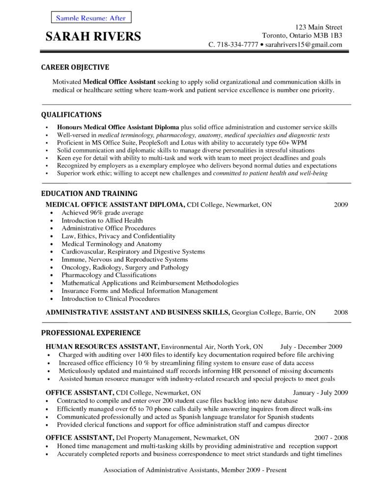 Front Office Medical Assistant Resume Receptionist Example Sample