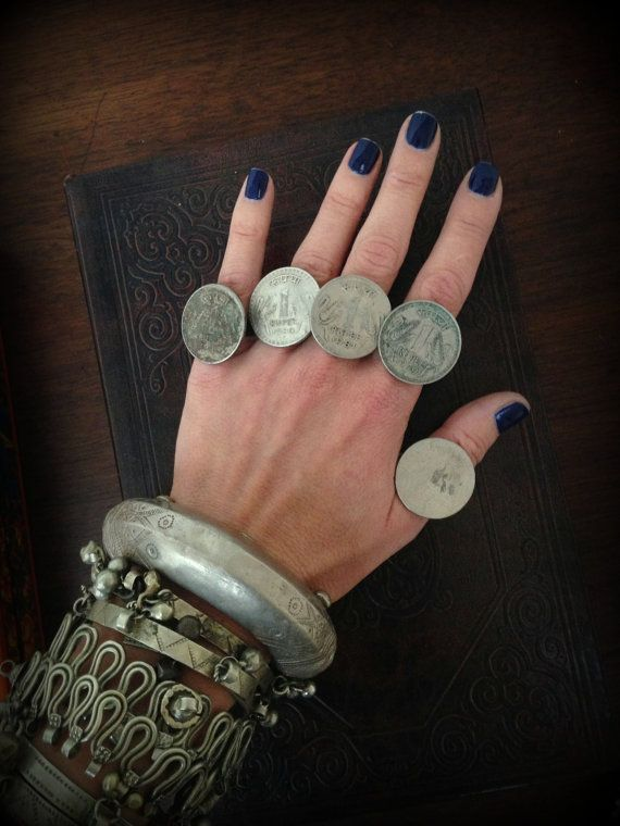 Banjara Coin Ring Old Rupee Coin Ring India Coin Jewelry Mens Ring