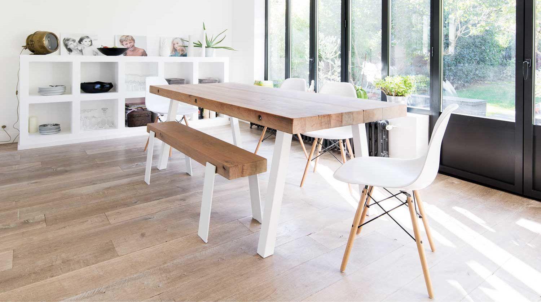 Table en poutres de ch ne sur mesure stockholm 11 - Table cuisine bois brut ...