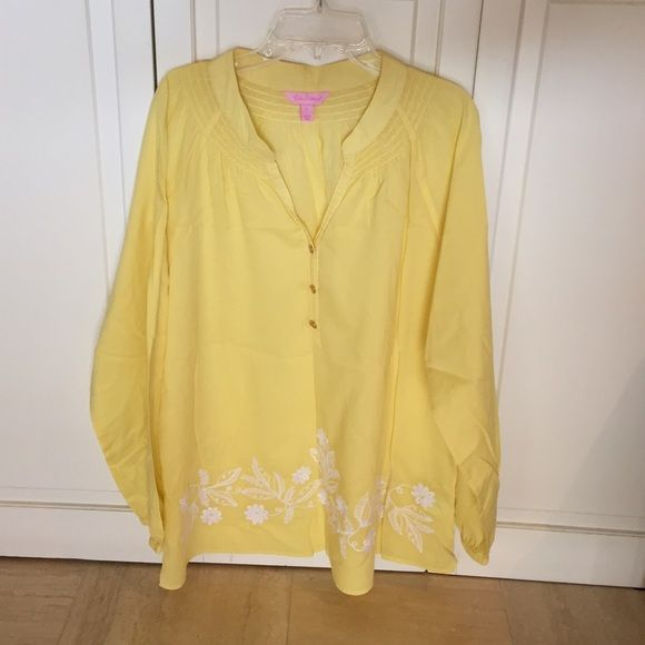 Lilly Pulitzer Elsa blouse, sz large, pale yellow Lilly Pulitzer Elsa blouse top in pale yellow with floral embroidery on front bottom. Size large. Worn only once! Gorgeous top in excellent condition. Lilly Pulitzer Tops Blouses