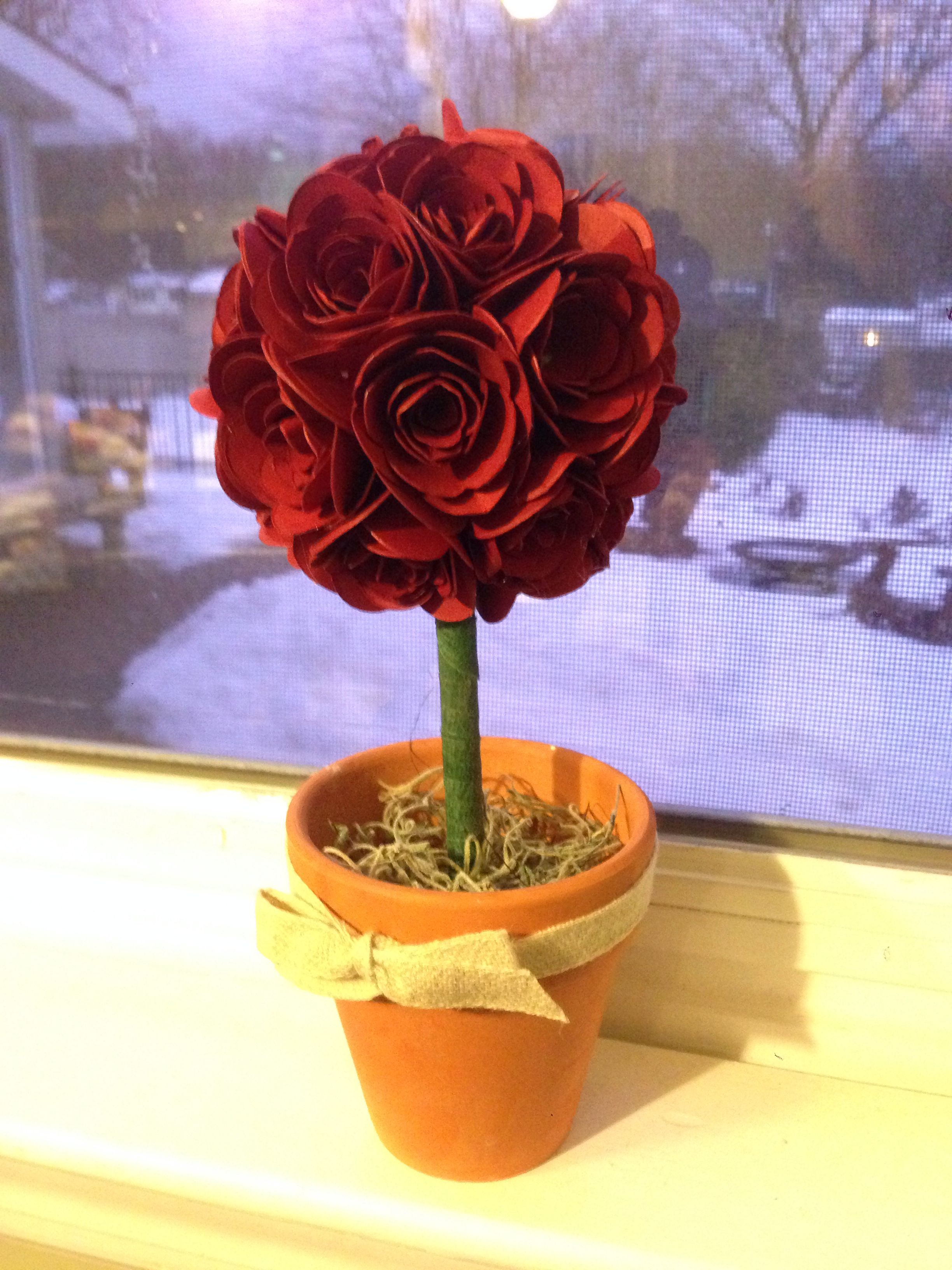 Made this little topiary with the Stampin' Up! Spiral Flower originals die, a styrofoam ball, and a glue gun.