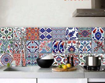Kitchen Bathroom Indian Jaipur Blue Pottery Tile Wall Floor Decals 22 Designs X 2 44 Pcs Kitchen Tiles Floor Decal Decor