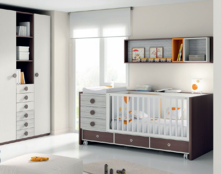 chocolate, white, and orange. letto bebé con ruote (misto) ROSMINI 3 ...