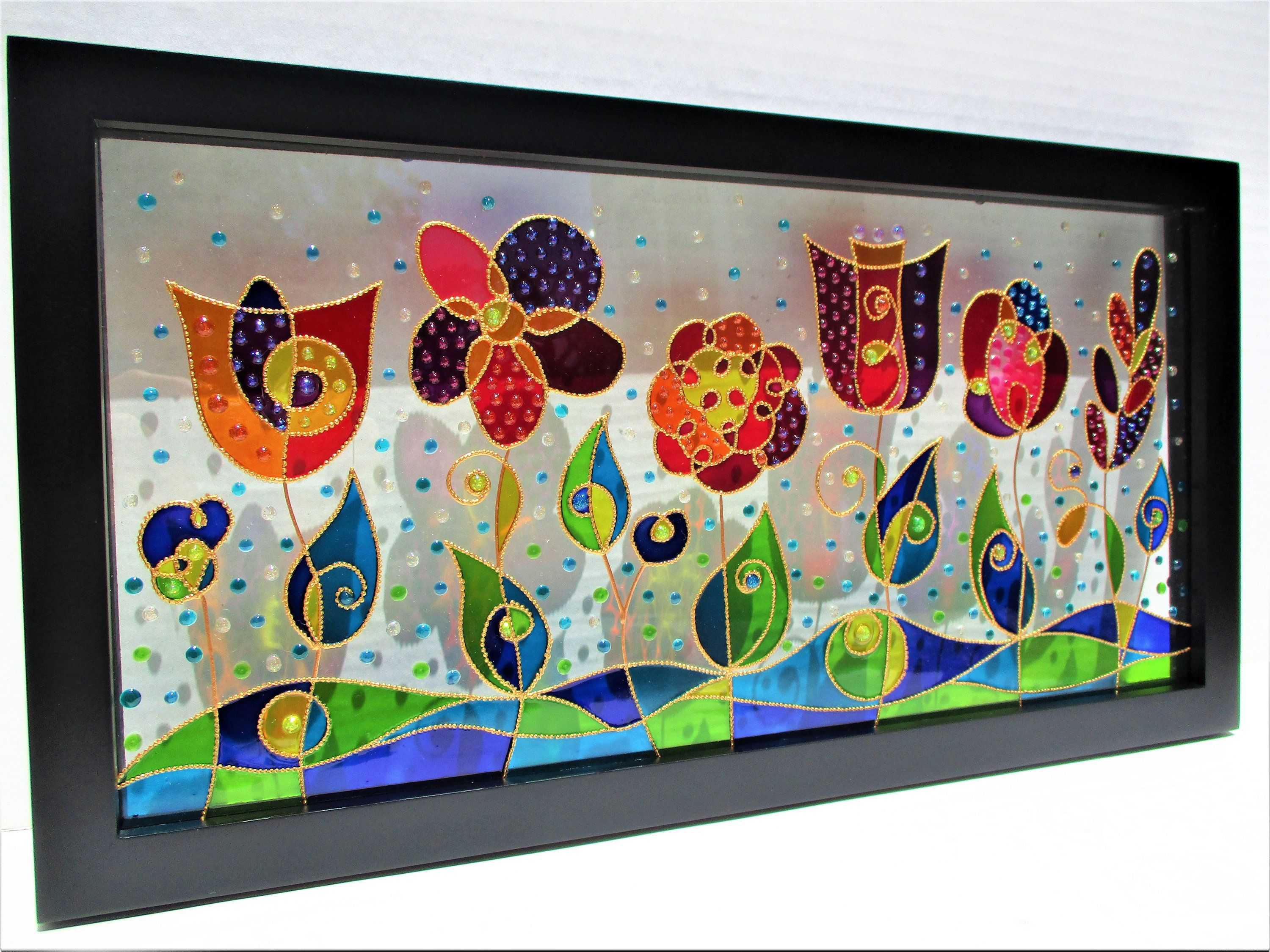 Abstract Flower Art Landscape Art Glass Painting Stained Glass Glass Art Wall Art Window Decor Original A Abstract Flower Art Glass Painting Kit Glass Painting