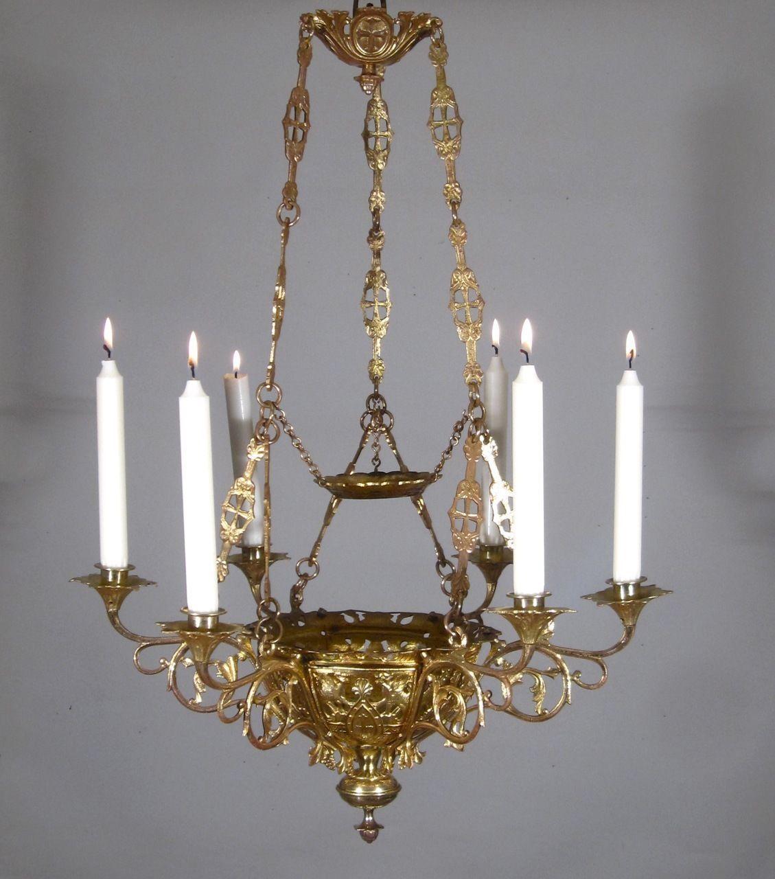 Bronze Antique Chandeliers, Fixtures & Sconces   eBay - Antique French Neo Romanesque Gilded Bronze Church Chandelier