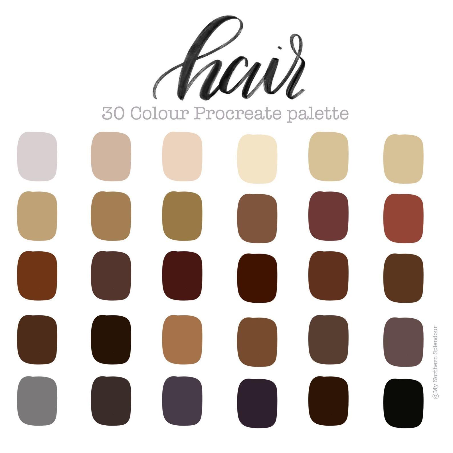 Procreate Colour Palette Hair 30 Colours Instant Etsy In 2020 Color Palette Design Skin Palette Pantone Colour Palettes