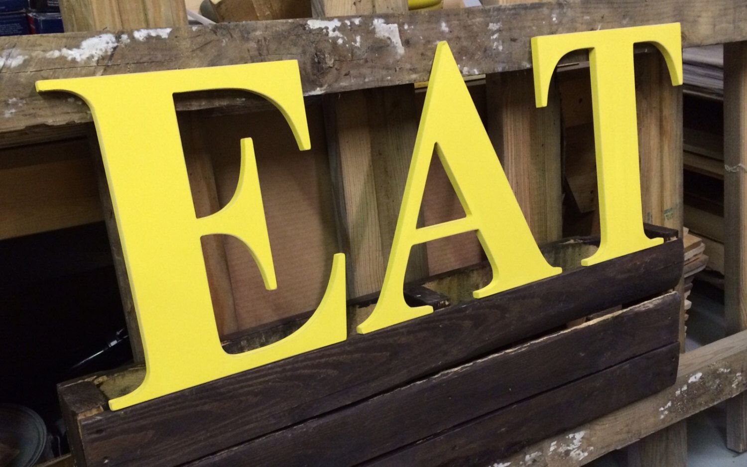EAT Wooden letters yellow red kitchen farmhouse style capital ...