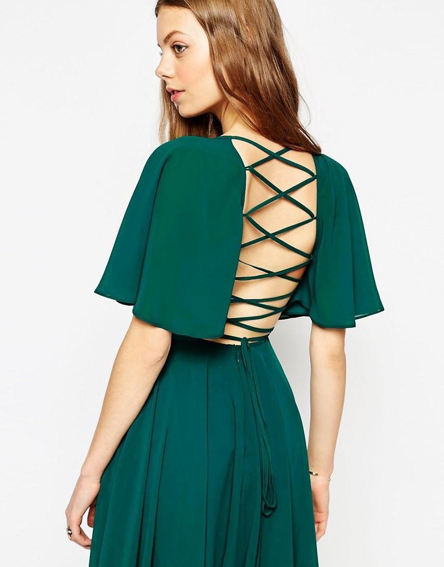 Green lace up dress  ASOS  ASOS Lace Up Back Caftan Sleeve Midi Dress at ASOS