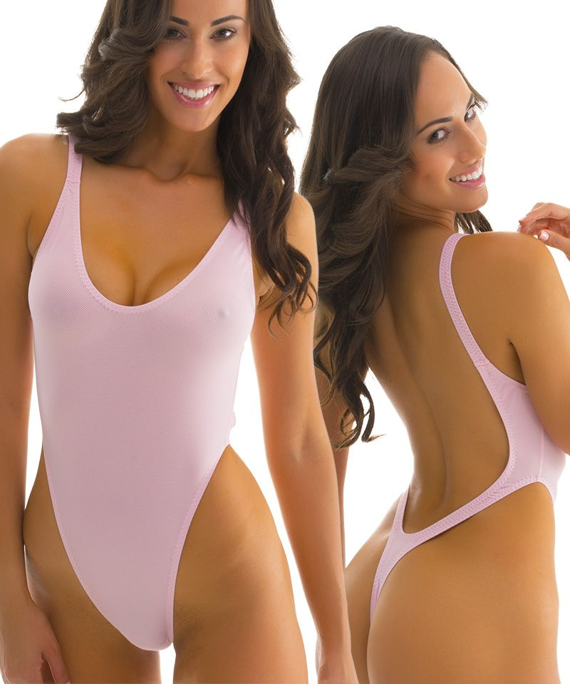 Womens  OnePiece  Thong  SwimSuit in  SemiSheer Powder Puff Pink  PowerNet-by-Skinz 66a8a5b87