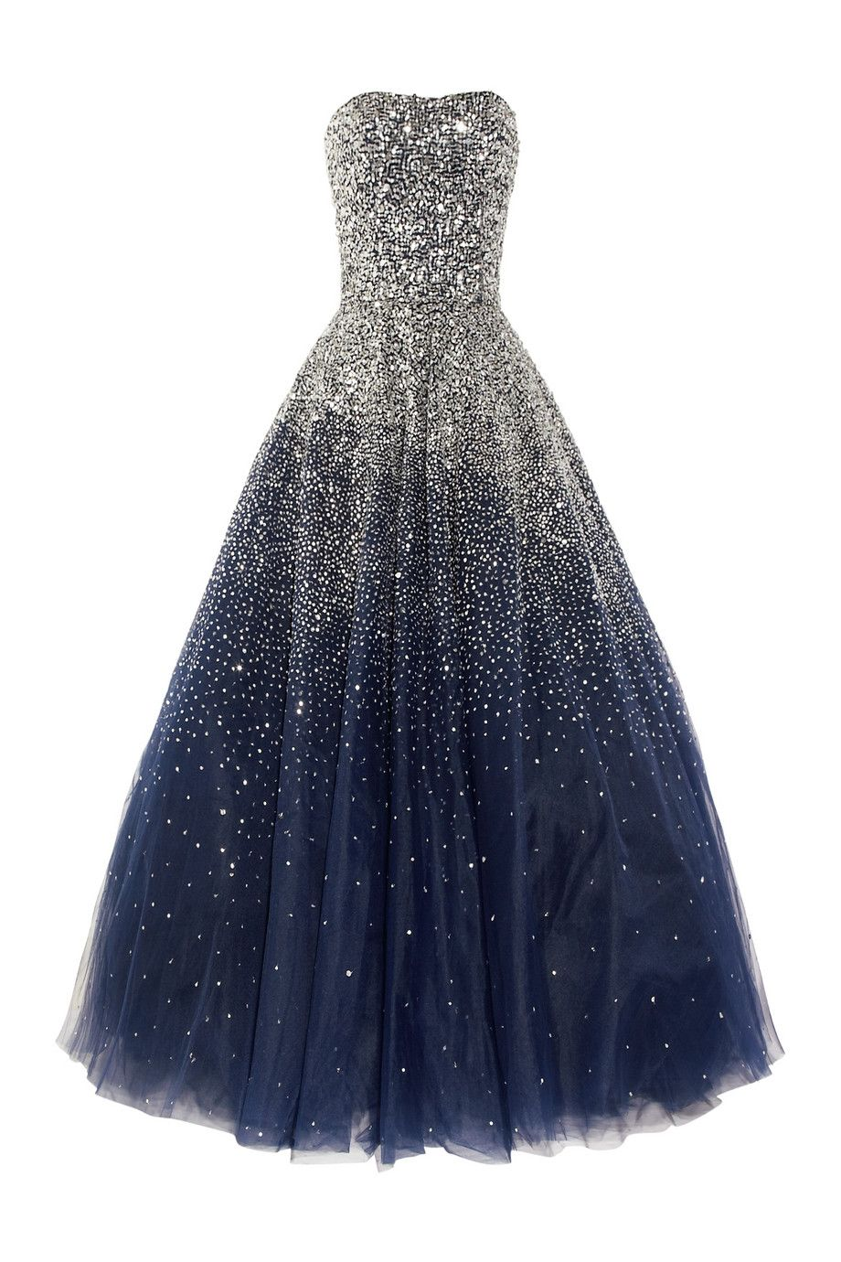 Gorgeous! Marchesa Sequined strapless silk tulle gown