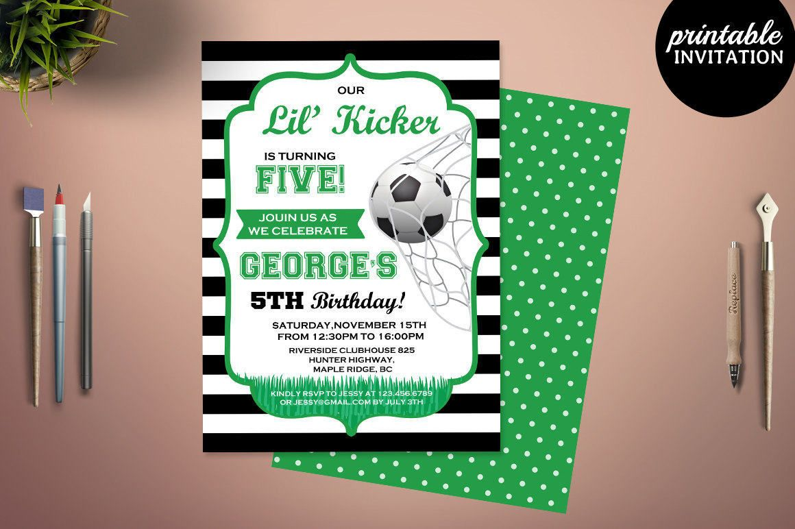 soccer birthday invitation boy football invite bd73 birthday