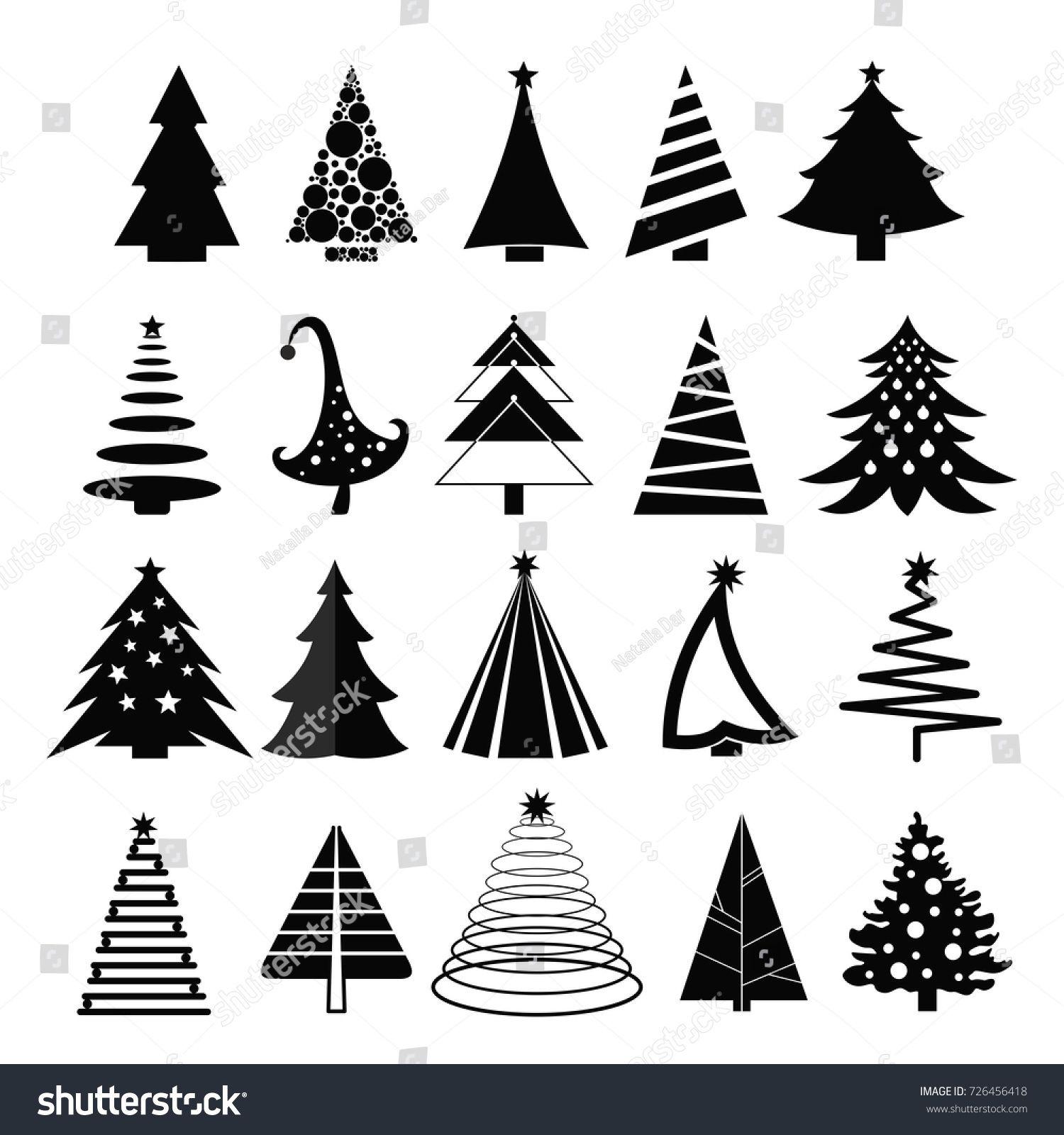 Vector illustration set of christmas trees silhouette on