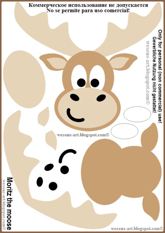 Moritz The Moose Template Wesens Art Blogspot Com Weihnachten Basteln Vorlagen Basteln Weihnachten Elche Basteln