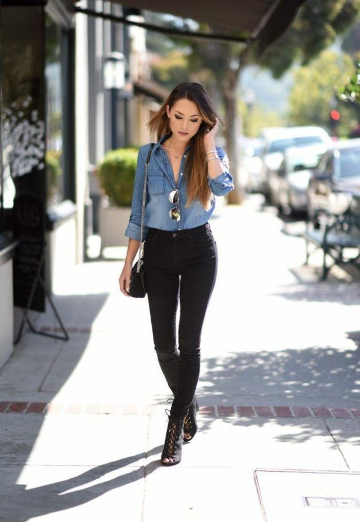 1001 images de la tenue avec chemise en jean mode femme pinterest jessica ricks street