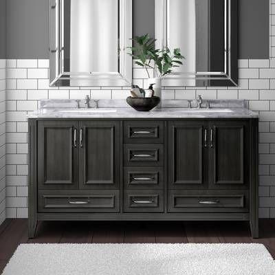 """rama 8"""" x 24"""" porcelain wood look tile   double vanity"""