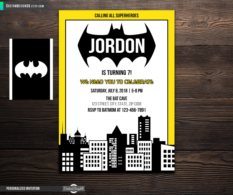 Batman Birthday Invitation Party Superhero Batboy Invite Batmom Marvel Superheroes