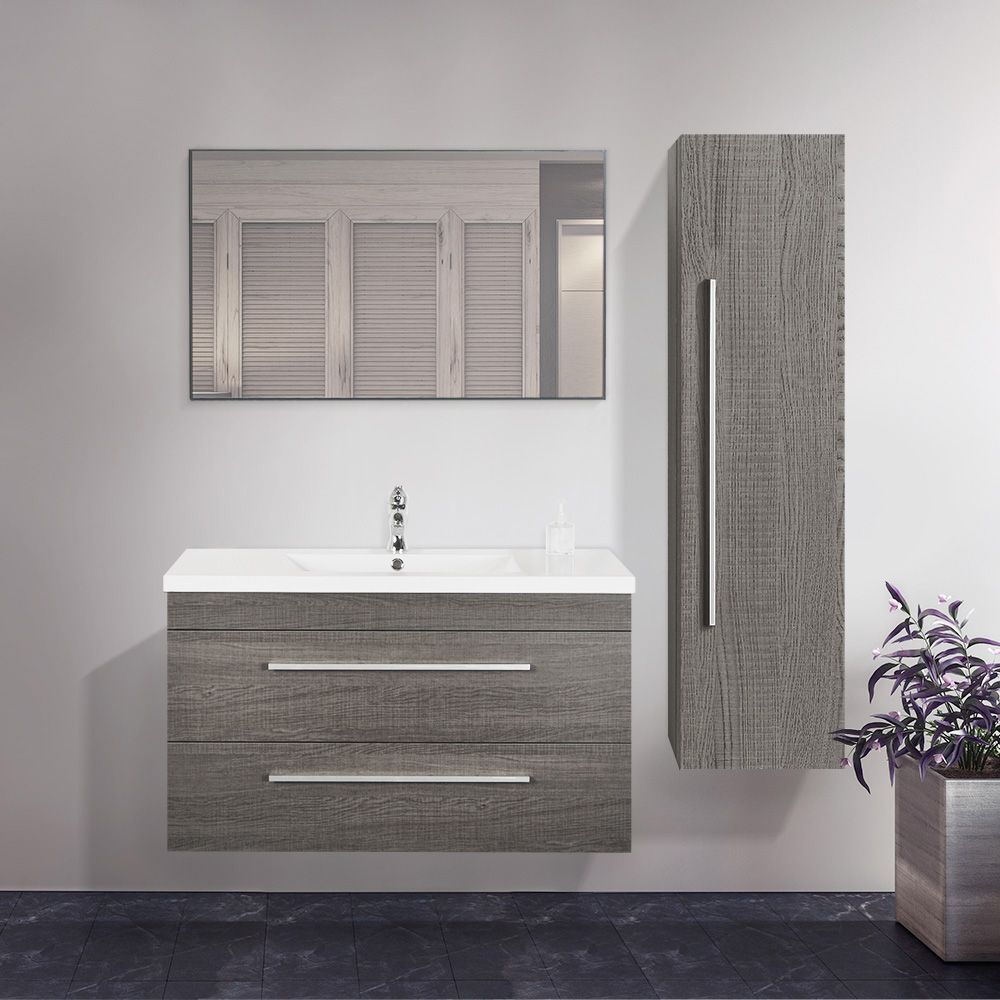 Combo 40 Grey Oak Finish Wall Mount Vanity Set With Linen Cabinet