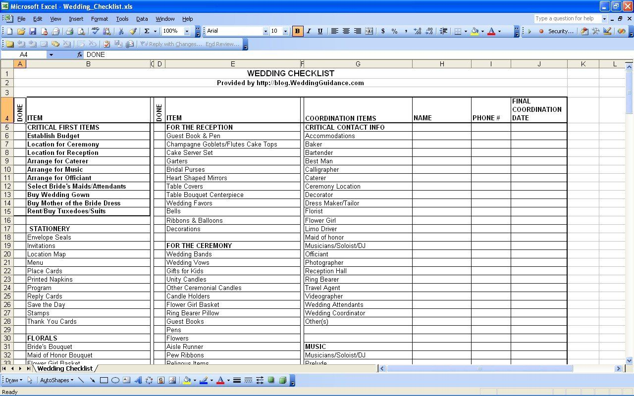 Indian Wedding Checklist Excel Spreadsheet