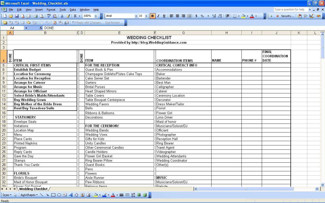 Indian Wedding Checklist Excel Spreadsheet
