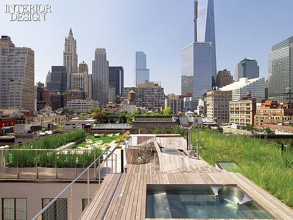 On Top of TriBeCa: Penthouse by Steve E. Blatz | Balustrades around the roof are stainless steel. #design #interiordesign #interiordesignmagazine #architecture #rooftop #outdoor