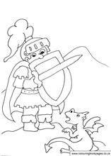 print out this image of a knight and a baby dragon