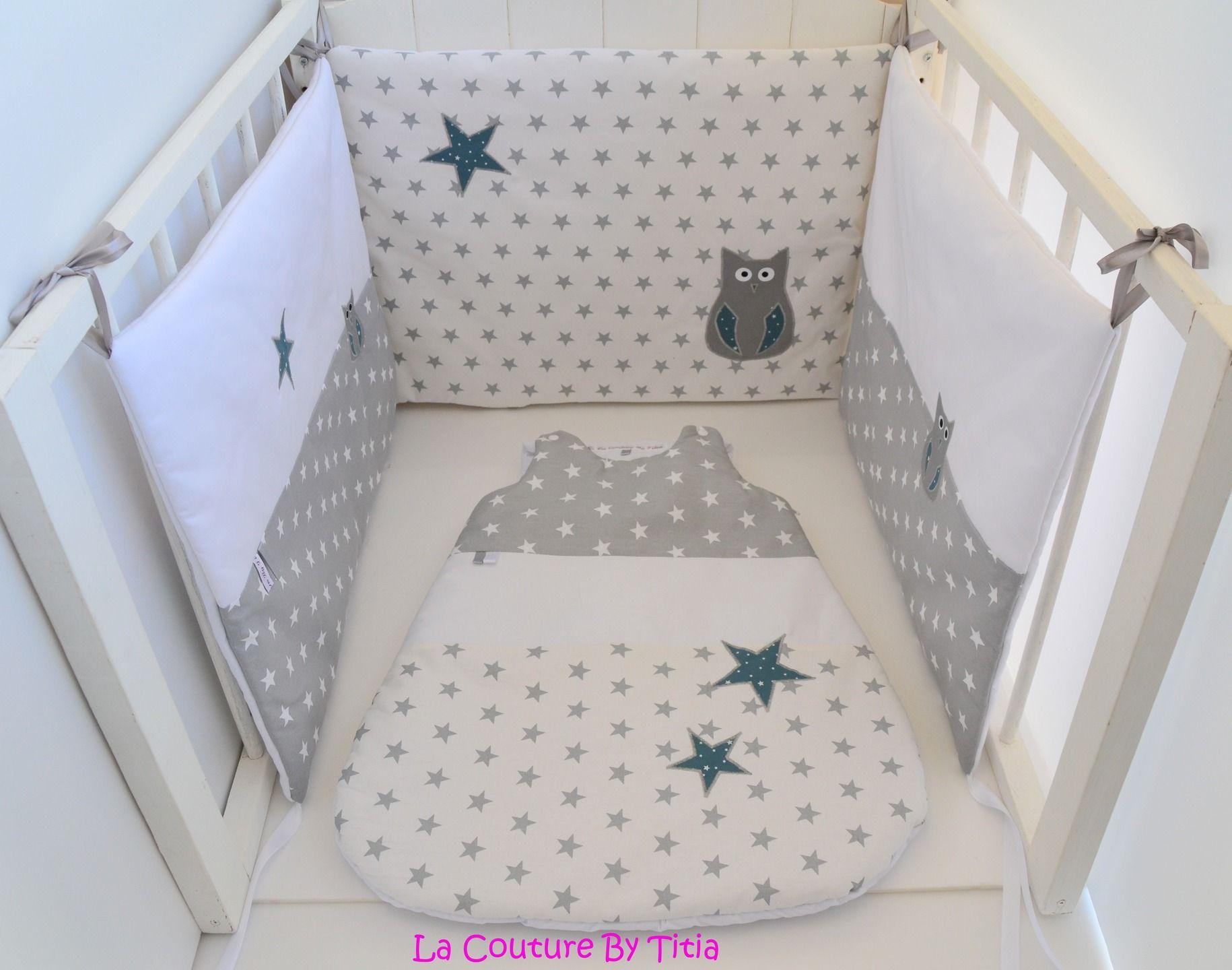 tour de lit et turbulette fait main etoiles gris et bleu canard hibou lacouturebytitia. Black Bedroom Furniture Sets. Home Design Ideas