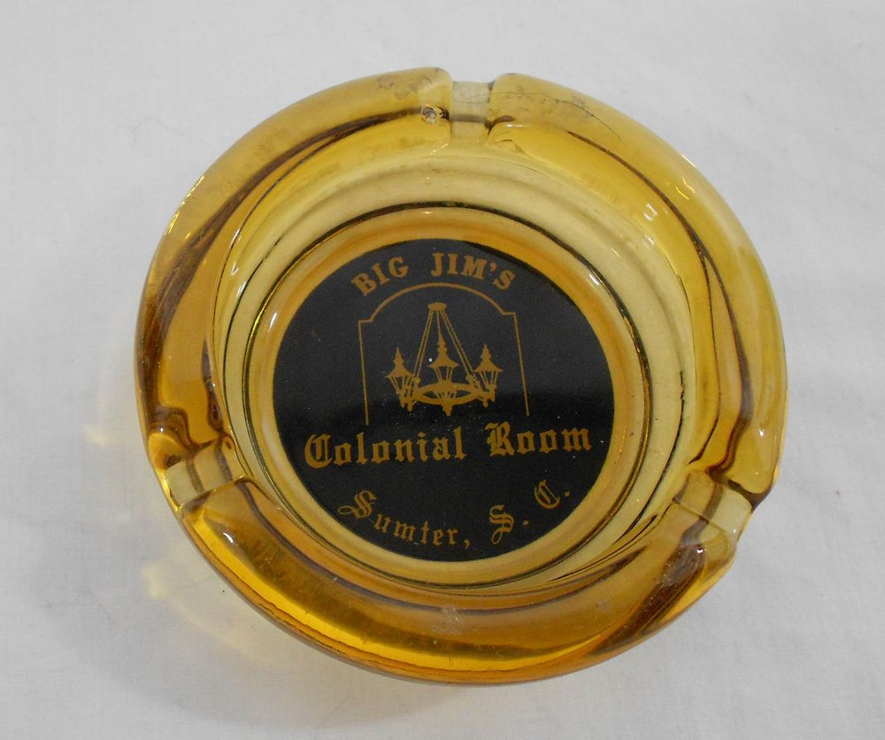 Big Jim's Colonial Room Ashtray Sumter SC Gold Glass Restaurant Advertising #BigJimsColonialRoom