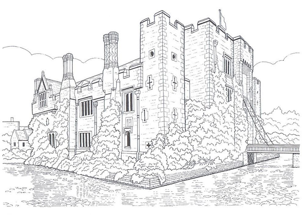 Old Castle Realistic Coloring Pages For Grown Ups