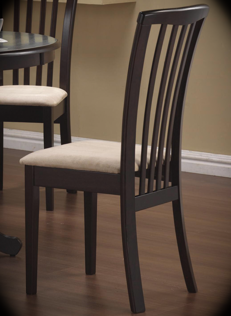 """Slat Back Side Chair with Upholstered Seat Brannan Cappuccino Width: 16"""" Height: 30"""" Depth: 21.5"""" The casual contemporary designs of this side chair will bring an updated look to your dining room decor. The long, sleek slat back design and clean lines offers modern appeal, while the neutral microfiber fabric seat provides inviting character."""