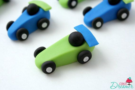 Fondant Race Car Cupcake Toppers Race Car Birthday by CakeDreamer