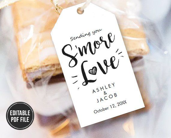 smore love tag template wedding favor tag s more tags s mores gift
