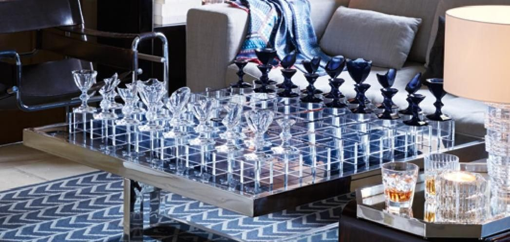 """$32,000 Baccarat Clear Midnight Crystal HARCOURT CHESS LE 35"""" SET NEW IN BOX"""