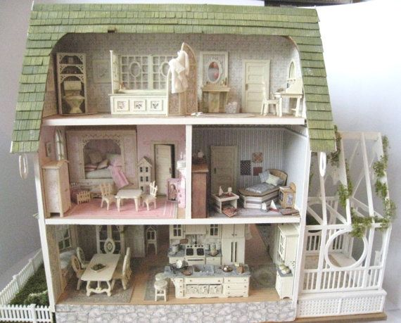 Dollhouse quarter scale 1 48th pickett hill decorated furnished