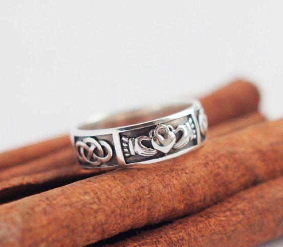 Mens claddagh ring Irish wedding ring Handmade Claddagh ring men