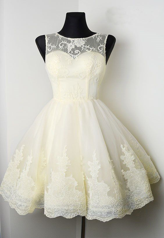 3ec2e9cdc36 A-Line Bateau Beige Tulle Short Homecoming Dress with Lace