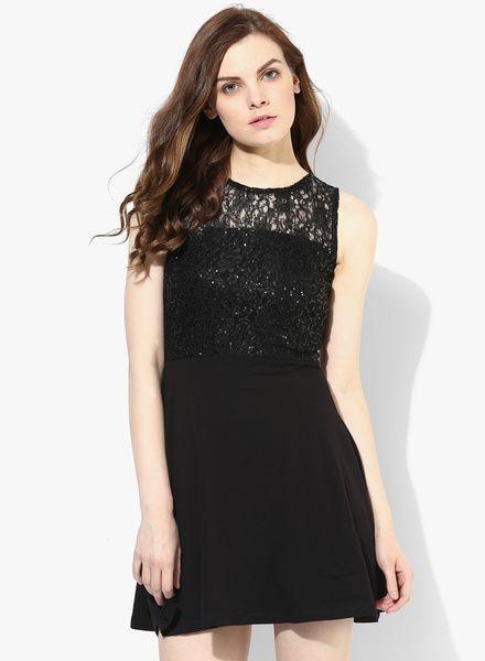 f0ed356ba4 Black Embellished Sequin/Lace Skater Dress   Dorothy Perkins ...