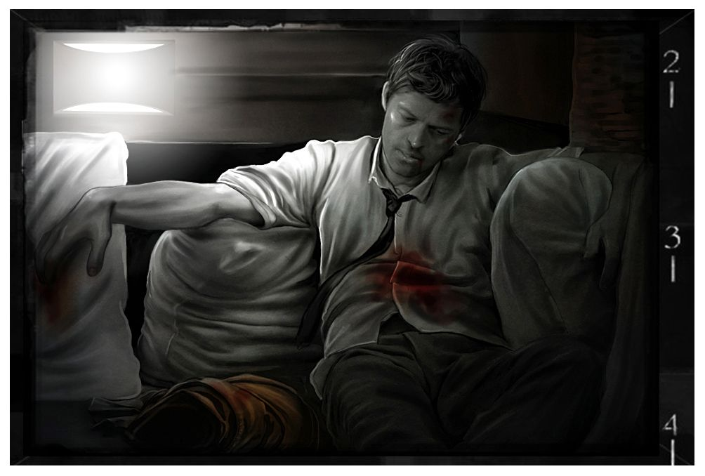 """Journal of A Man of Letters   Sam Winchester's Journal - Entry #5     """"Cas is MIA again. We brought him home in a piss poor state a couple of days ago, a gaping hole in the middle of his belly. I don't even know how he found us. I'm guessing that Dean has prayed to him more than he wants to admit, and that he told him about our whereabouts."""" [...]"""