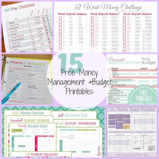 15 FREE Money Management  Budget Printables! Money management