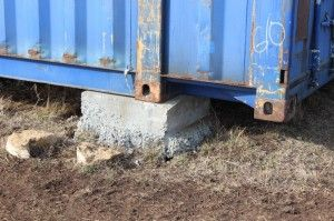 shipping container concrete pier foundation cargo