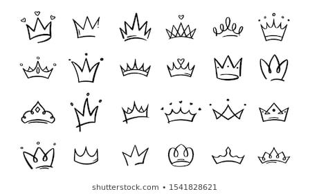 Doodle Crowns Line Art King Queen Stock Vector (Royalty Free) 1541828345