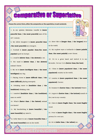 further English Exercises   parative   Superlative as well parative and Superlative Worksheet moreover English Exercises   parative   Superlative additionally  together with paratives   All Things Grammar together with parative And Superlative Worksheets Spanish Pdf Adjective further adjectives exercises worksheets together with Quiz   Worksheet   German  parative   Superlative Adjectives moreover PrimaryLeap co uk    parative and Superlative Adjectives Worksheet additionally parative and superlative worksheets furthermore parative and superlative worksheets in addition  furthermore paratives ESL Printable Worksheets and Exercises besides Pin de Ache   em grammar   English grammar quiz  English grammar e together with . on comparative and superlative exercises worksheet