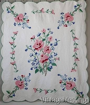 "Romantic Pink Roses! Vintage 30-40s Applique QUILT 84x73"" Fresh & Clean"