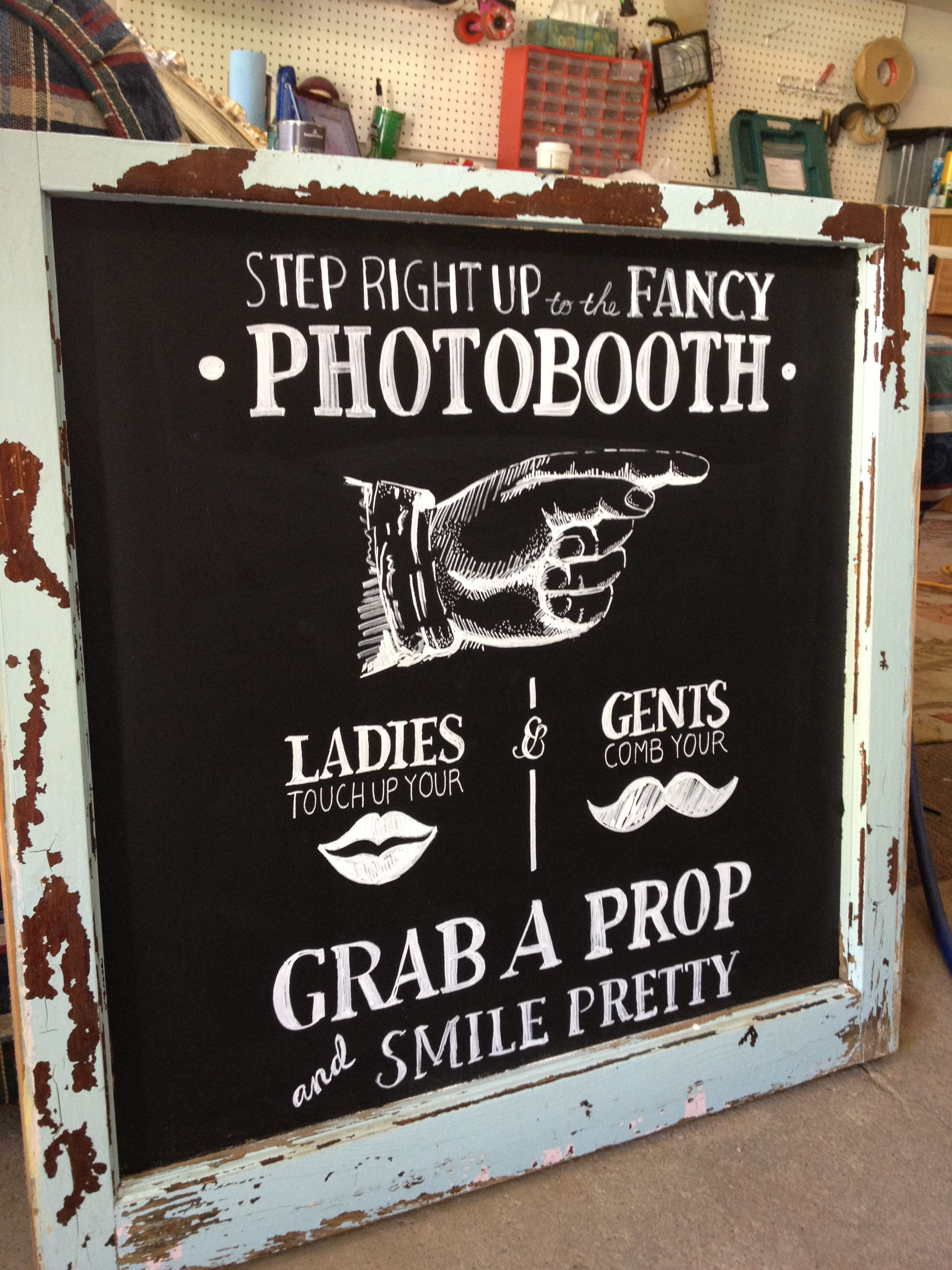 Photo Booth Sign w/ Chalkboard Paint & Chalk Markers