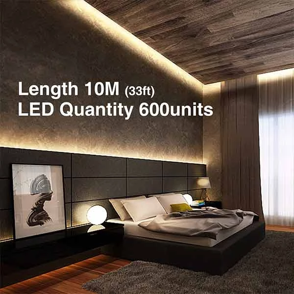 33ft Dimmable Led Strip Light 2835 Leds 12v Warm White Led Strip Lighting Strip Lighting Dimmable Led
